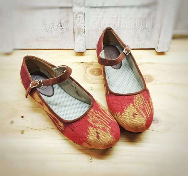 Deandra Tenun Ikat Handwoven traditional fabric from Jepara Indonesia for boho flats shoes