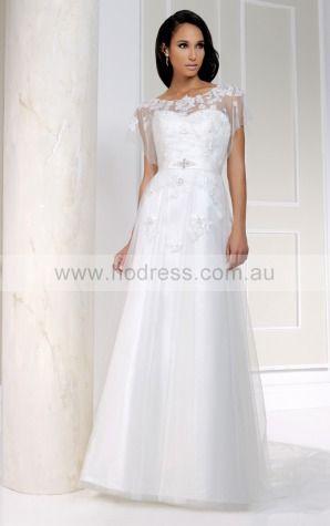 Short Sleeves Buttons Tulle Scoop A-line Wedding Dresses ggcf1035--Hodress