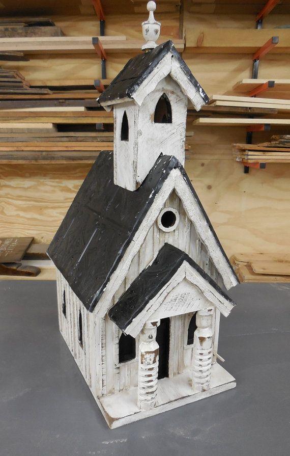 French Country Church Birdhouse Rustic Church by LynxCreekDesigns
