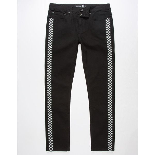 Rsq Seattle Checker Skinny Tapered Jeans ($45) ❤ liked on Polyvore featuring men's fashion, men's clothing, men's jeans, mens skinny fit jeans, mens skinny jeans, mens tapered jeans, mens embroidered jeans and mens super skinny jeans