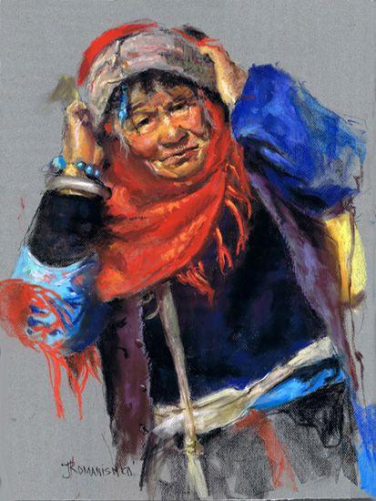 'CHINESE WOMAN' - 18x24 - Pastel by Jane Romanishko
