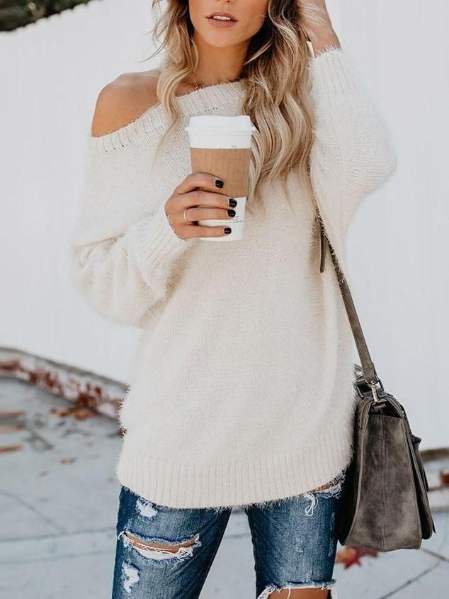 Slash Neck Loose Casual Plain Women's Knitwear 3