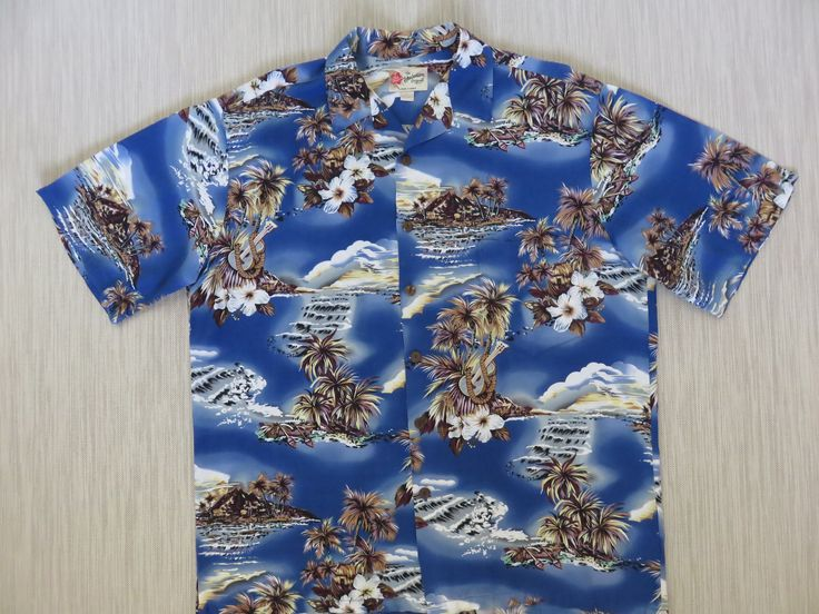 Hawaiian Shirt Men HILO HATTIE Ukulele Music Hibiscus Outrigger Canoe Coconut Trees Surfer Aloha Shirt Blue - L - Oahu Lew's Shirt Shack by OahuLewsShirtShack on Etsy