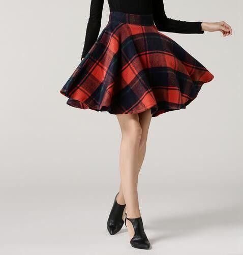 2017 New Fashion big Hem umbrella skirt Thick A-line Skirts For Women Elastic Waist Winter Plaid Woolen Skirts