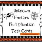 24 Halloween themed task cards where students are asked to identify the missing factor.  Copy onto card stock, laminate, and use each year.  ...