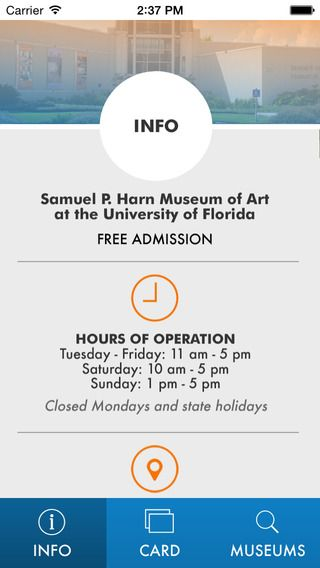University of Florida HARN museum is now offering a digital membership card. One of the great features of the app is the listing of reciprocal museums. One less card to carry around with you.