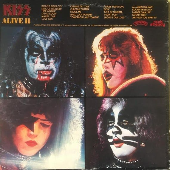 Kiss Alive Ii 2lp Set Casablanca 1977 Vintage Vinyl Lp Etsy Kiss Album Covers Album Covers Kiss Band