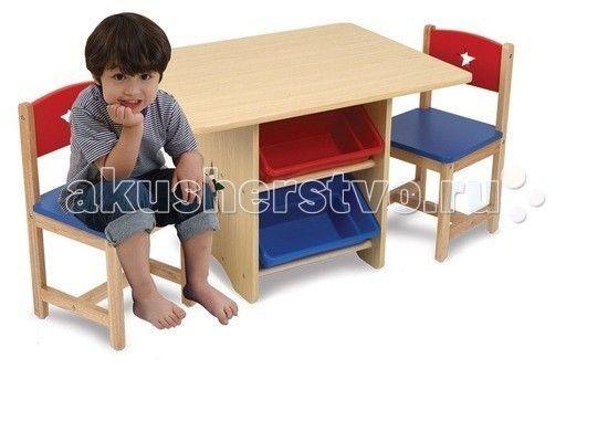 KidKraft Набор детской мебели Star  KidKraft Набор детской мебели Star (стол + 2 стула + 4 ящика) идеальное место для выполнения домашних заданий, настольных игр и творчества.  Имеются четыре выдвижных ящика из пластика.   Такой уголок органично впишется в интерьер комнаты малышки, как ее рабочее место для уроков, игр и развлечений.   Размер: стол - 77 х 57 х 52 см  стул - 30 х 30 х 51 см (сиденья: 28 см)