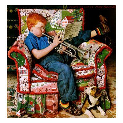 Filmposters bij AllPosters.nl.  kunst van Norman Rockwell. de Trompetter met hondje.