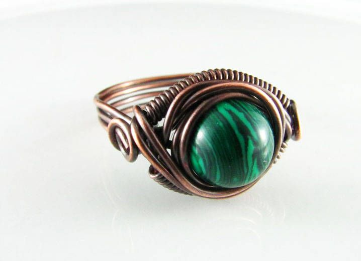 Wire Wrapped Ring Malachite Ring Dragons Eye Copper Wire Wrapped Jewelry Ring Copper Jewelry Copper Wire Wrap by PolymerPlayin on Etsy
