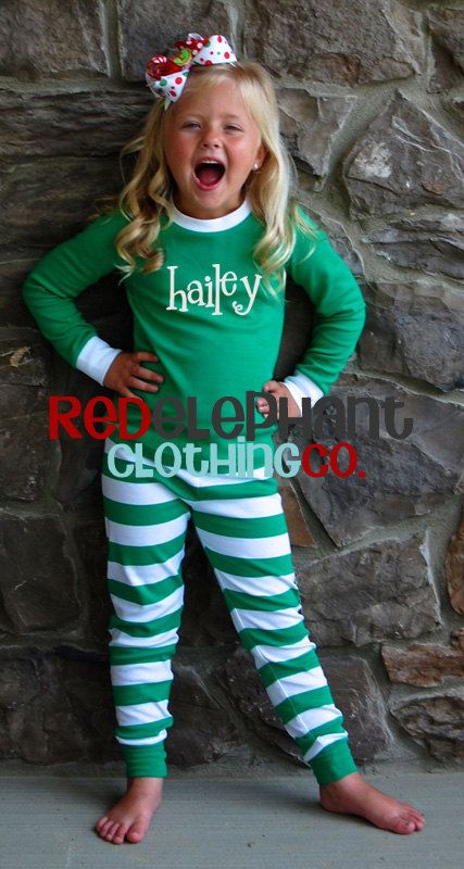 Christmas Pajamas Green Stripe, Monogrammed PJs, Embroidered Kids Pajamas