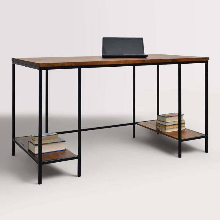 The clean, simple design of our contemporary desk makes it a versatile addition to any work area. With a black metal frame contrasted with chestnut-finished wood, this extra-long workstation features two shelves for storing files and supplies.