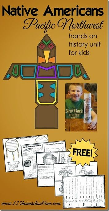 FREE Native Americans - Pacific Northwest History for Kids. This is such a fun unit for for Kindergarten, 1st grade, 2nd grade, 3rd grade, 4th grade, 5th grade, and 6th grade kids with logs of kids activities and free printable worksheets for kids. LOVE THIS!