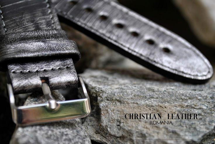 Curea de ceas din piele pentru Omega. In stoc. Black Stardust Leather Watch Strap. Fits Omega watches and other neutral design time pieces. christianstraps@gmail.com , cureledeceas@gmail.com