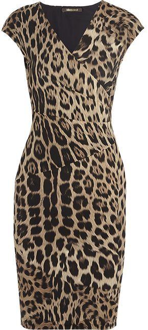 Roberto Cavalli animal print body con dress