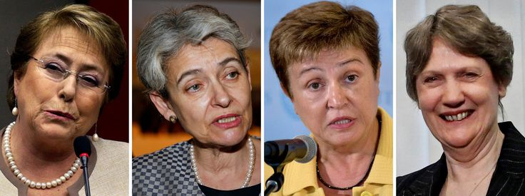 After 70 Years of Men, Some Say It Is 'High Time' a Woman Led the U.N. - The New York Times  Photo From left, President Michelle Bachelet of Chile; Irina Bokova of Bulgaria, head of Unesco; Kristalina Georgieva of Bulgaria, a European Commission vice president; and Helen Clark of New Zealand, head of the United Nations Development Program, have been cited as possible nominees. as possible successors to Secretary General Ban Ki-moon.