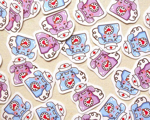 Cute Nurse on Call Work Planner Stickers- Kawaii Telephone Sticker Pack of 30, Life Planner Stickers, Filofax Scrapbooking, Calendar Agenda
