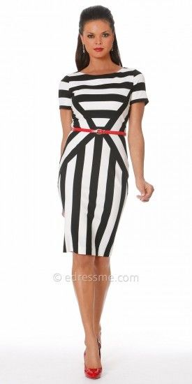 NUE by Shani Black and White Stripes Cocktail Dresses