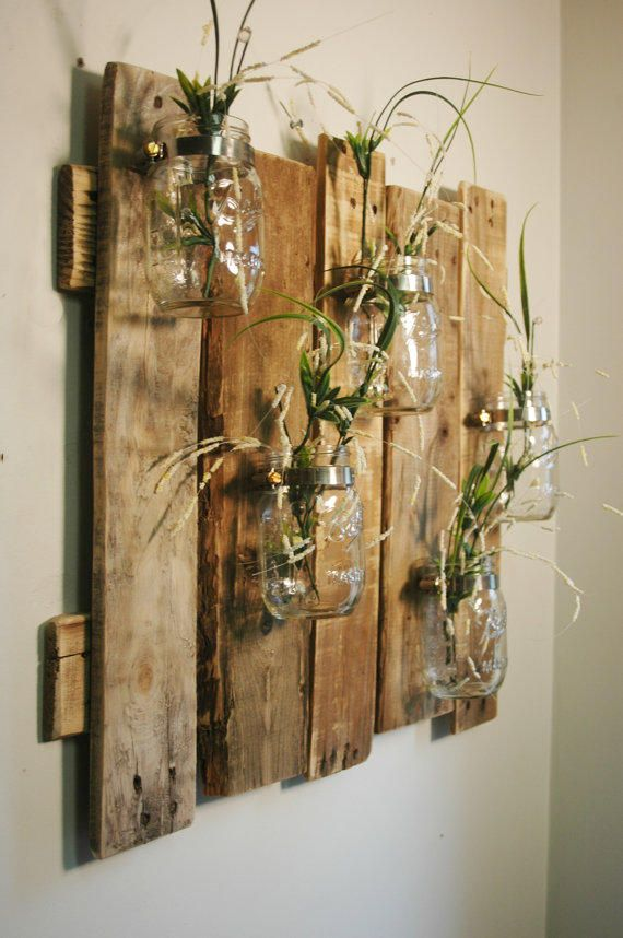 Unique large wall piece with Clear Mason Jars wall…
