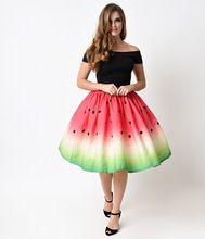 Women Watermelon Ball Gowns Lady Party Empire Skater Skirts 2017 Summer Sale Female Fashion Printed Knee Length Pleated Skirt |  China Sales Express