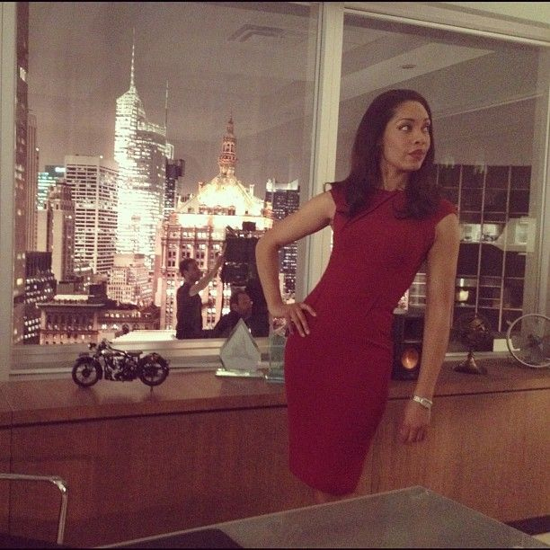 Gina Torres on the SUITS set.  Photo by Patrick J. Adams.