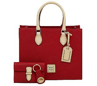 Dooney & Bourke Leather Janine Satchel w/ Accessories - QVC.com I have the floral version and LOVE it!!