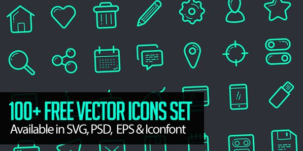 Vector Icon Set – 100+ Icons Free Download #vectoricons #freeicons #psdicons #svgicons #iconfont
