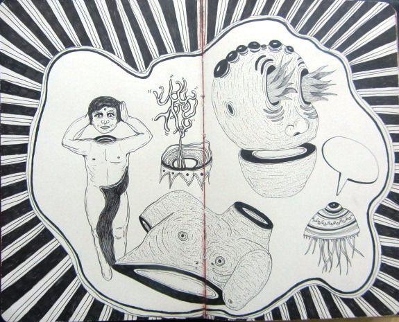 Artista: Ricardo Muñoz Izquierdo, Libreta dibujos 5, dibujos en hoja de libreta, 10x16 cm, + PA.  Artist: Ricardo Muñoz Izquierdo, drawings book 5, leaf notebook drawings , 10x16 cm, + PA .