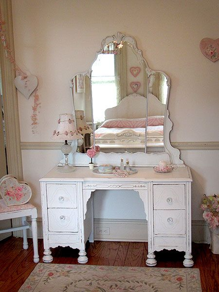 Antique White Vanity with Etched Mirror and Bench. love the look