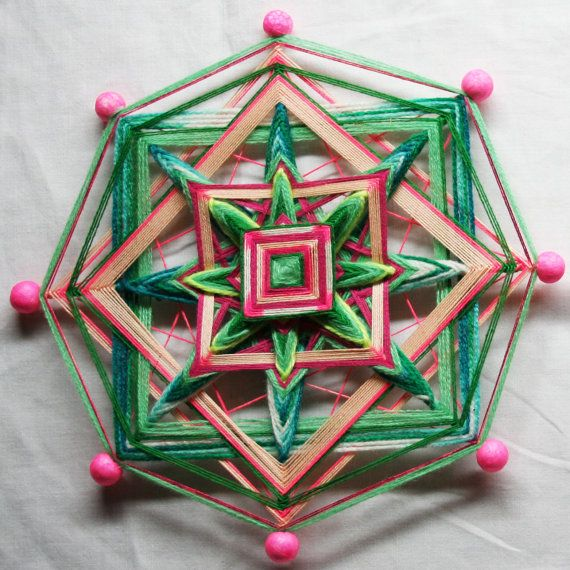 Pink Green Mandala God's Eye by PsyMagic on Etsy, €30.00