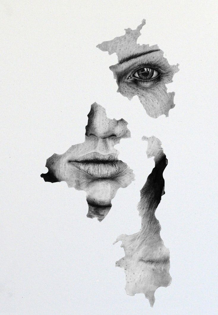 "ARTFINDER: Now I'm in trouble by andy butler - A pencil and graphite drawing on canvas.  Just a simple fragmented drawing of a beautiful women with ""that look, that I'v done something wrong...again"""