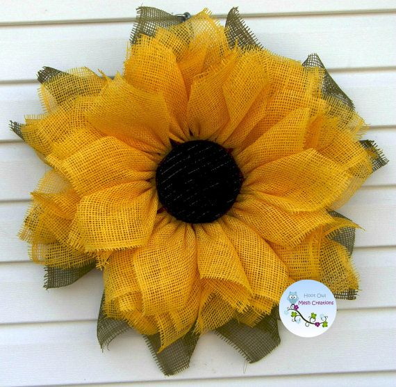 Sunflower Wreath Paper Mesh-Fall Paper Mesh Sunflower-Sunflower Wreath-Summer Wreath