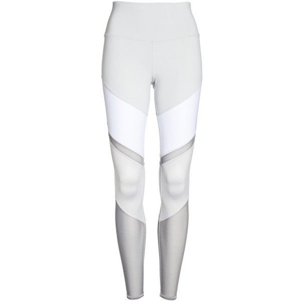 Women's Alo Sheila High Waist Leggings ($112) ❤ liked on Polyvore featuring pants, leggings, wetlook leggings, high-waisted leggings, white shiny leggings, shiny leggings and sheer panel leggings