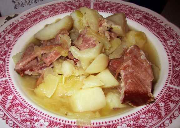 """""""Boiled dinner"""" - Cabbage, ham, potatoes, carrots [not shown]. One of my favourites!"""