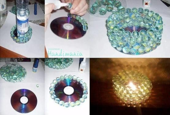 Beautiful & Creative Idea . Reuse your old CDs to a beautiful candle holders.