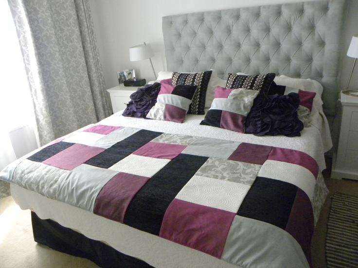 Piecera en tonos  morados, lilas, negros y grises + 2 cojines de regalo  $61.900 (pesos chilenos)  Bella Mia Diseños  #design #room #style @Nancy Casas