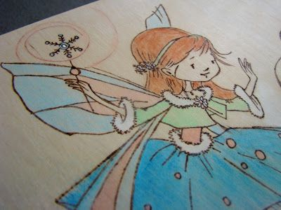 little sweet girl on wood burned