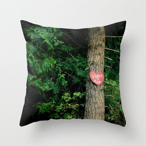 Personalized Pillow, Wedding present, woodland, nature, forest, heart, love,  Home Decor, Pillow, Photography RDelean