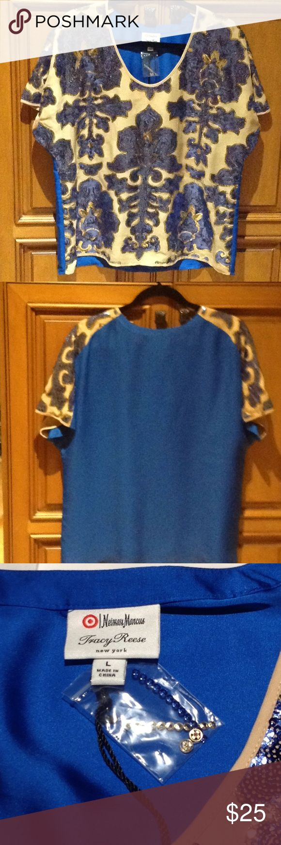 NWT TRACY REESE NEIMAN MARCUS FOR TARGET BLOUSE LG NWT TRACY REESE NEIMAN MARCUS COR TARGET LADIES BLOUSE SIZE LARGE. ECRU/BLUE W SEQUINS. TRACY REESE Tops Tunics