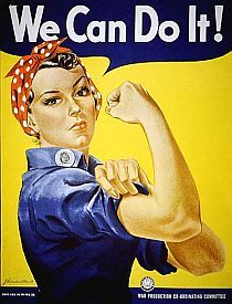 "In 1942, Pittsburgh artist J. Howard Miller was hired by the Westinghouse Company's War Production Coordinating Committee to create a series of posters for the war effort.  One of these posters became the famous ""We Can Do It!"" image  — an image that in later years would also become ""Rosie the Riveter,"" though not intended at its creation.  Miller based his ""We Can Do It!"" poster on a United Press photograph taken of Michigan factory worker Geraldine Doyle."