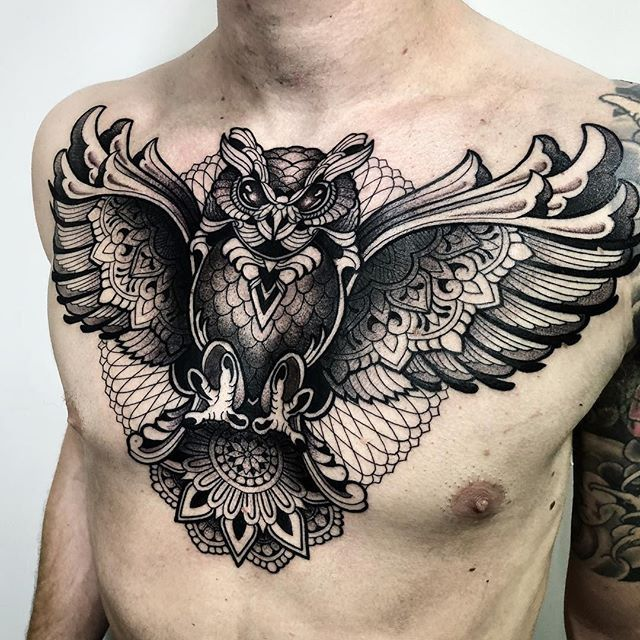 Geometric Owl Chest Tattoo By Melow Perez Melowperez From Barcelona Spain Check Out Our Instagram Chann Chest Piece Tattoos Chest Tattoo Tattoos For Guys
