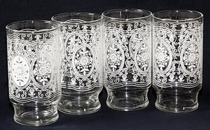 Set of 4 Vintage White Lace Doily Bandana Pattern Drinking Glasses ~ Buy It Now on Ebay for $9.95!!