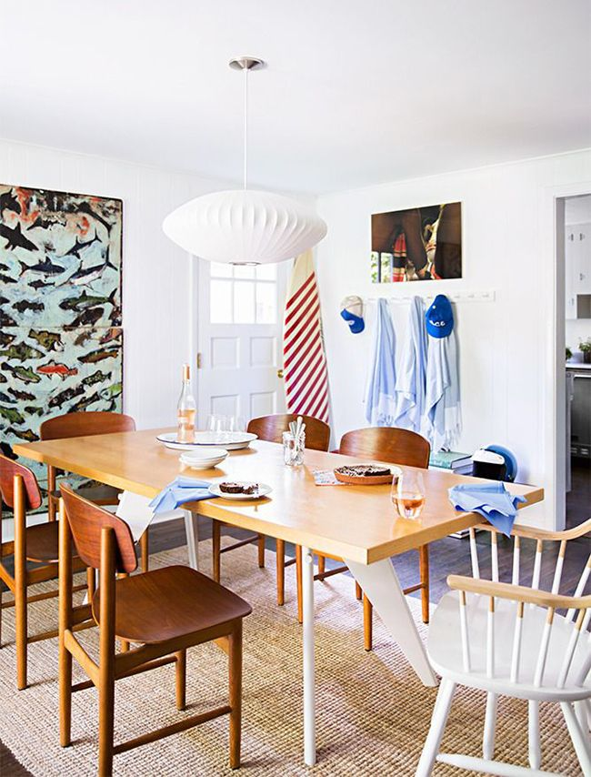 A Shelter Island Home Perfect for Lazy Summer Days: Christine and John Gachot's Dining Room: Windsor chair