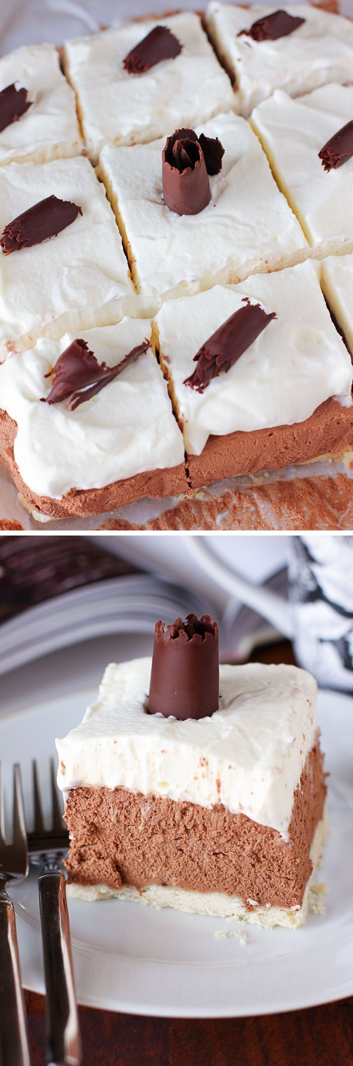 French Silk Pie Bars : These pie bars are heavenly! Full of creamy chocolate mousse and topped with fluffy whipped cream.
