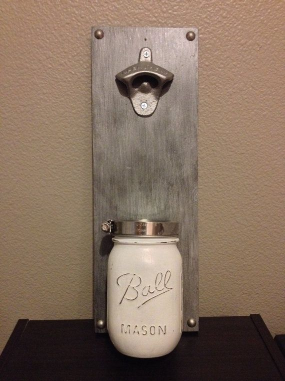 Wall mount bottle opener with mason jar catch by for Bottle cap wall