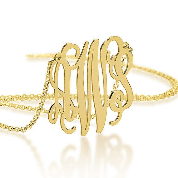 Gold Monogram Necklace 1.75 Inch - 18K Gold Plated - Personalized Jewelry