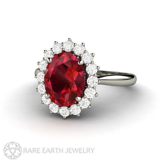 Ruby Engagement Ring Ruby Ring Oval Cluster Halo with Conflict Free Diamonds