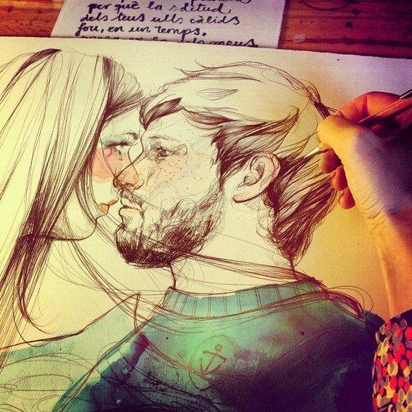 """Paula Bonet es amor. Esta ilustración fue portada de la 2a edición del libro de poemas """"Del blanc dels ulls"""" de David Farigola. Tienes más ilustraciones de Paula Bonet aquí: www.gnomo.eu/paulabonet"""