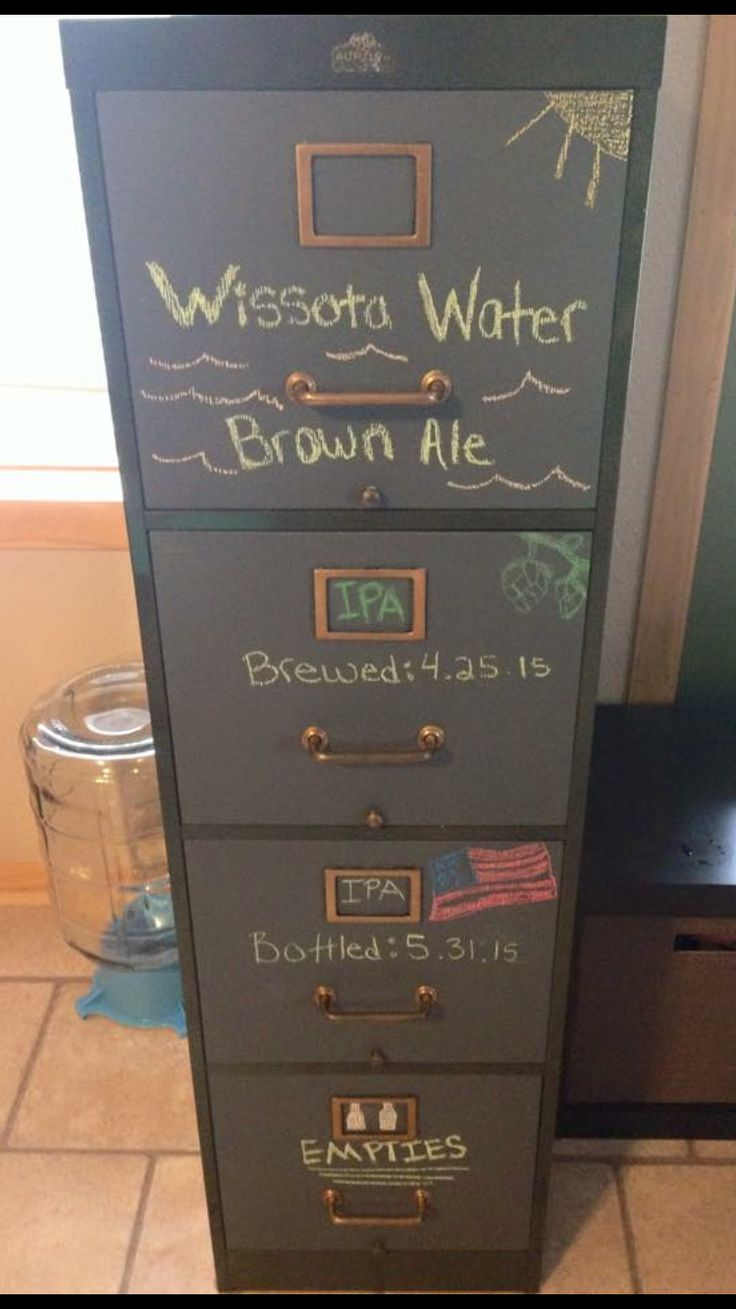 My girlfriend and I picked up this old file cabinet and made it into our home brewing storage/bottle aging cellar