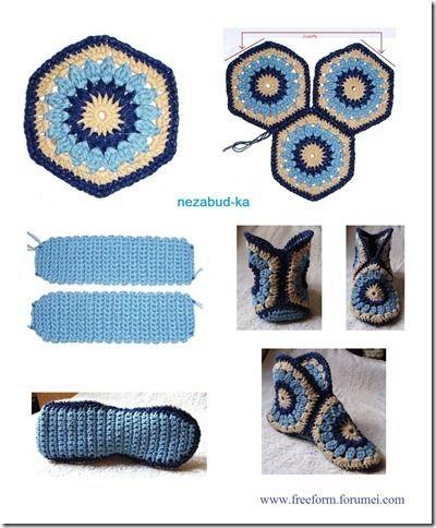 Pantufas de croche com gráficos - Crochet